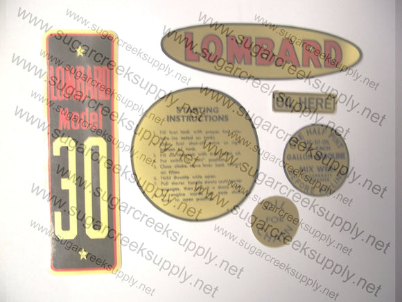 Lombard Model 30 decal set