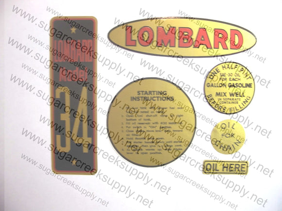 Lombard Model 34 decal set