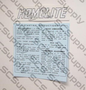 Homelite Model 17 decal set