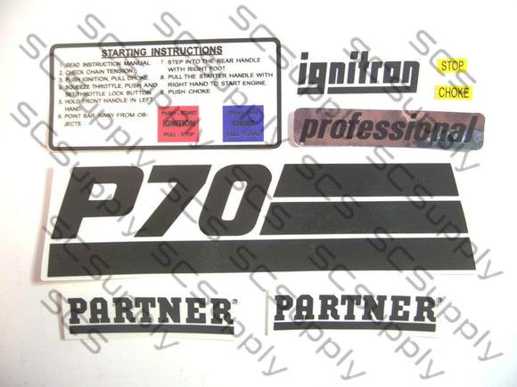Partner P70 decal set