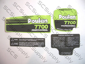 Poulan 7700 decal set