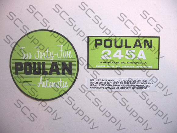 Poulan Two Forty Five Automatic decal set