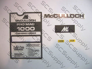 McCulloch Pro Mac 1000 decal set