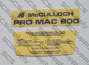 McCulloch Pro Mac 800 decal set