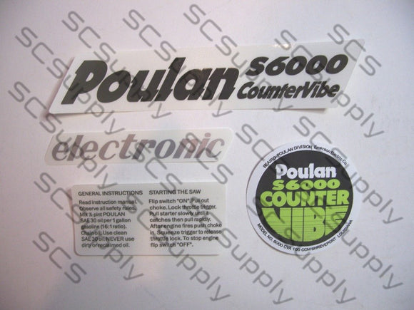 Poulan S6000 CounterVibe decal set
