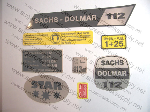 Sachs Dolmar 112 decal set