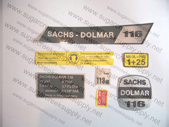 Sachs Dolmar 116 decal set