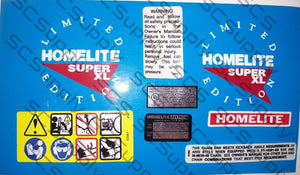 Homelite Super XL Limited Edition decal set