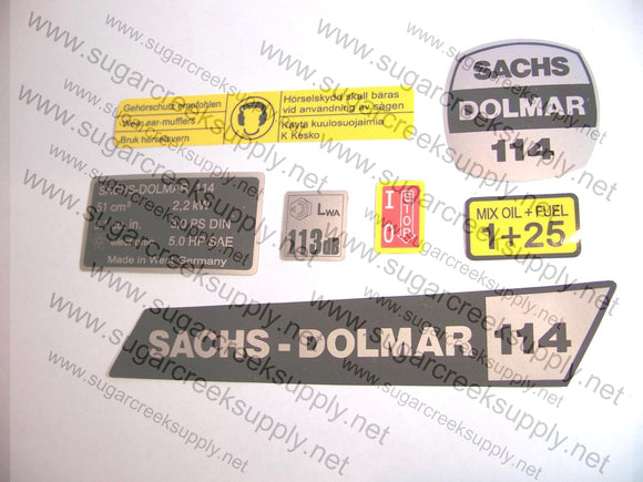 Sachs Dolmar 114 decal set