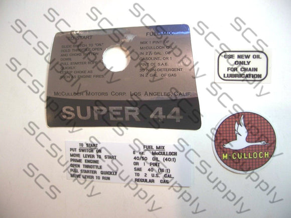 McCulloch Super 44 decal set