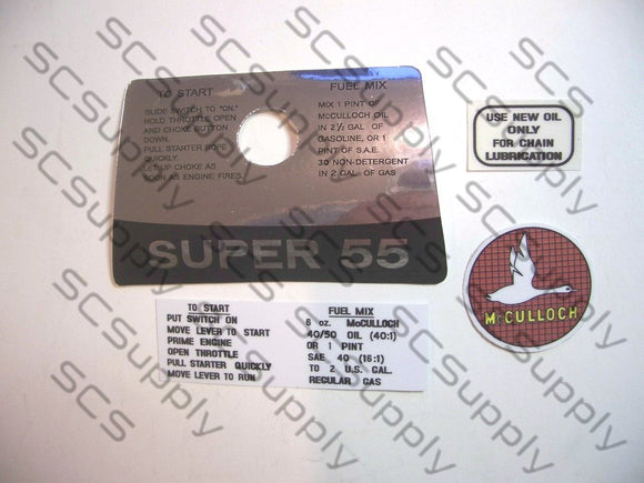 McCulloch Super 55 decal set