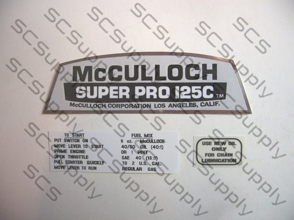McCulloch Super Pro 125C decal set