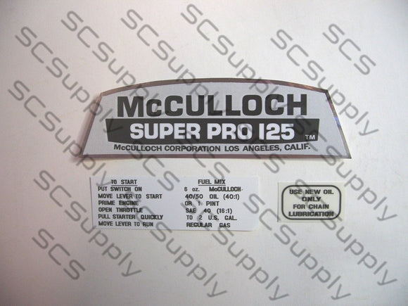 McCulloch Super Pro 125 decal set