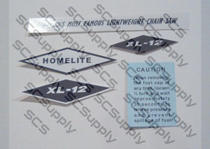Homelite XL-12 (black/white) decal set