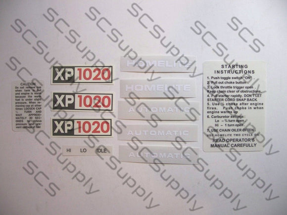 Homelite XP1020 Automatic decal set