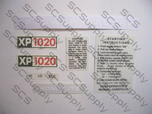 Homelite XP1020 decal set