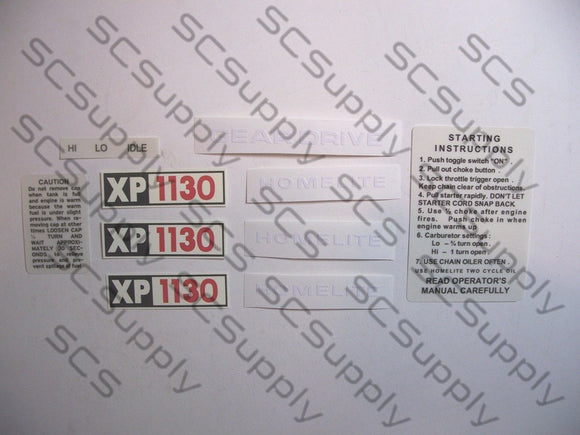 Homelite XP1130 decal set