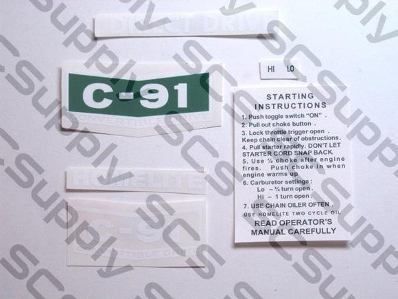 Homelite C-91 decal set