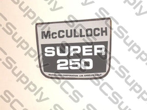 McCulloch Super 250 w/g/b on chrome decal