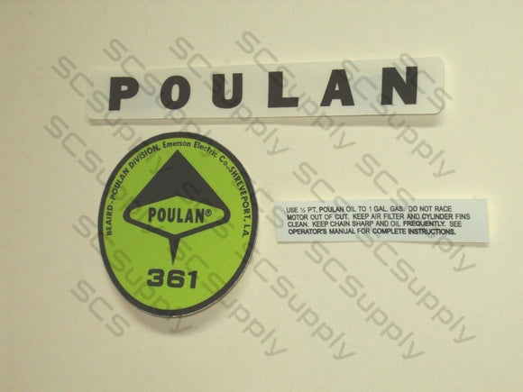 Poulan 361 decal set
