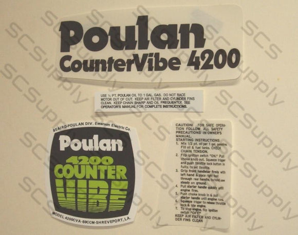 Poulan 4200 CounterVibe decal set