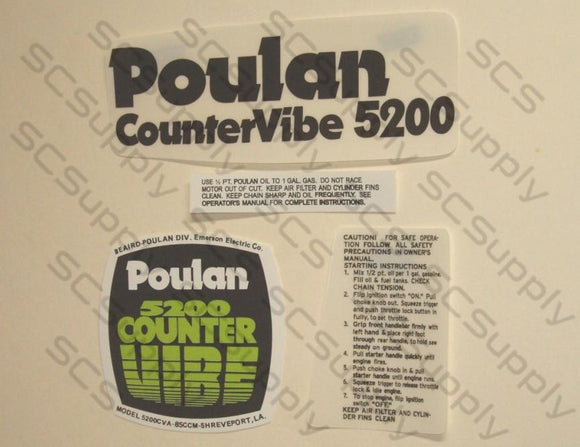 Poulan 5200 (Green cover) CounterVibe decal set