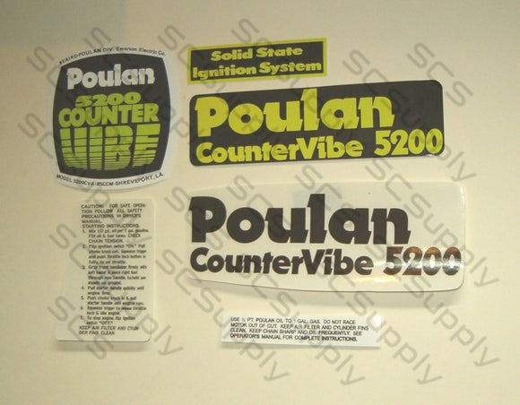 Poulan 5200 (Black cover) CounterVibe decal set