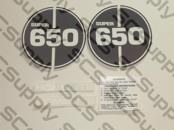 Homelite Super 650 decal set