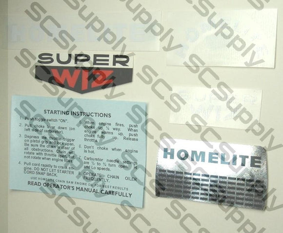 Homelite Super WIZ decal set