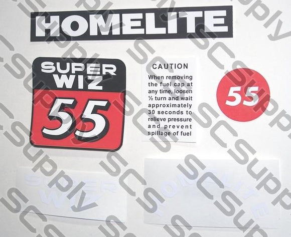 Homelite Super WIZ 55 (blue) decal set