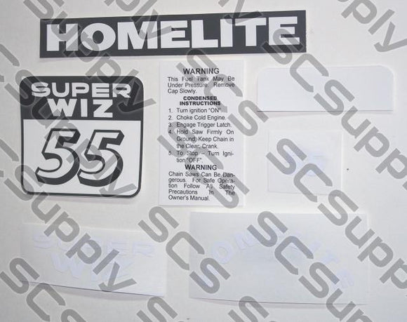 Homelite Super WIZ 55 (red) decal set