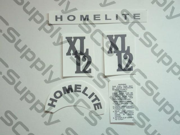 Homelite XL-12 (red saw, black decals) decal set