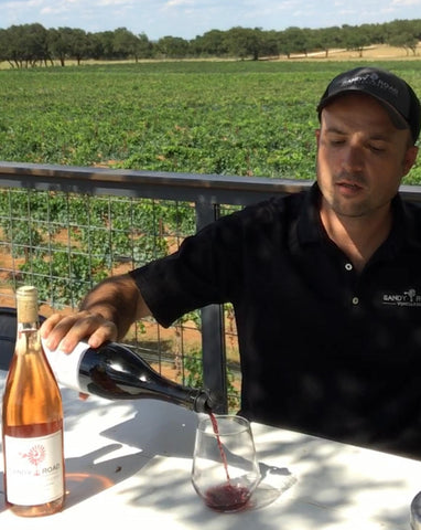 Bryan Pouring Sandy Road Mourvedre with the Haley Corker