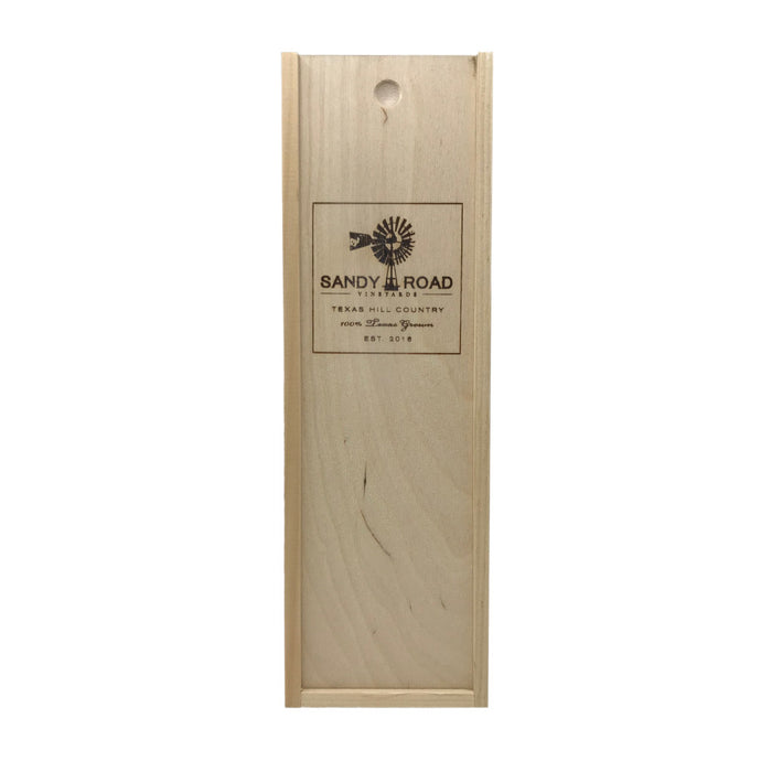 Sandy Road Vineyards 1 Bottle Wooden Wine Gift Box