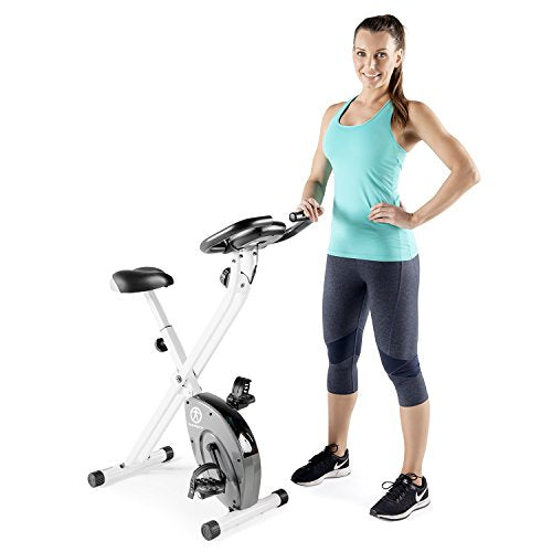 Marcy Foldable Exercise Bike with Adjustable Resistance for Cardio Workout and Strength Training