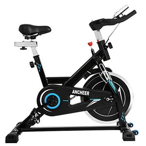 ANCHEER Belt Drive Indoor Exercise Bike with 49LBS Flywheel