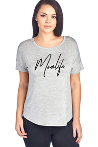 MOM LIFE GRAPHIC SHORT SLEEVE TOP **PLUS SIZE**