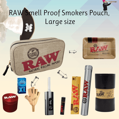 Raw smell proof pouch large
