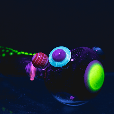Galactic UV Reactive Spoon Hand Pipe Large by Empire Glassworks