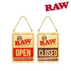 RAW Wooden Open & Closed Sign, 40cm x 30 cm-I Smoke Fresh, online smoke shop.