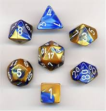 Chessex 7-Die set Blue-Gold/White