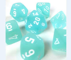 Chessex Frosted 7-Die Set - Teal w/white