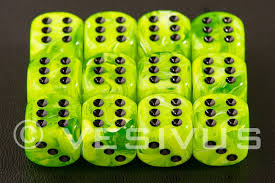Chessex 16mm D6 dice Vortex Bright green/black