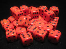 Chessex 16mm D6 dice Fire Speckled