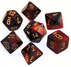 Chessex 7-Die set Black-Red/Gold