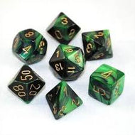 Chessex 7-Die set Black-Green/Gold