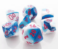 Chessex 7-Die set Astral Blue -White/Red