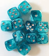 Chessex 16mm D6 dice Cirrus Aqua/Silver