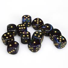 Chessex 16mm D6 dice Lustrous shadow/gold