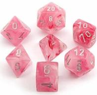 Chessex Frosted Polyhedral 7-Die Set - ghostly glow Pink w/white